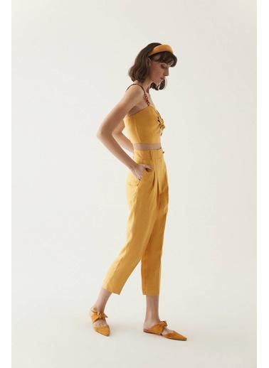 Rue Pensli Keten Pantolon Sarı